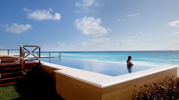 The three-bedroom suite features a private pool.