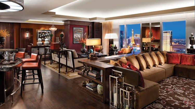 The Mandarin Oriental Las Vegas' Dynasty Suite Living Room.