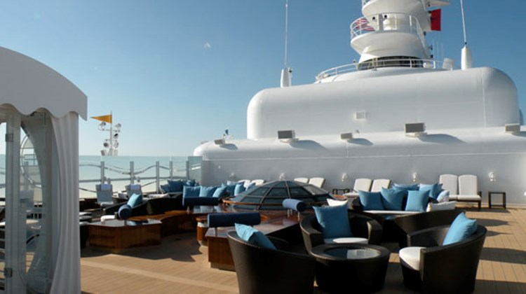 There are 41 Concierge-class cabins that have a private concierge lounge and private sundeck, shown here.