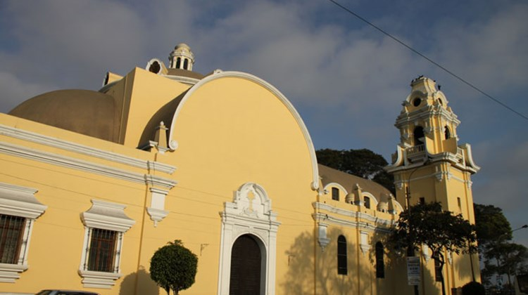 The Church of the Holy Cross, which faces the main square in Lima's Barranco district.
