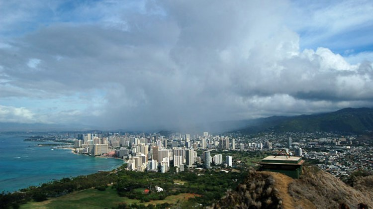 People who climb to the top of Diamondhead are rewarded with magnificent views of Oahu, including the city of Honolulu.