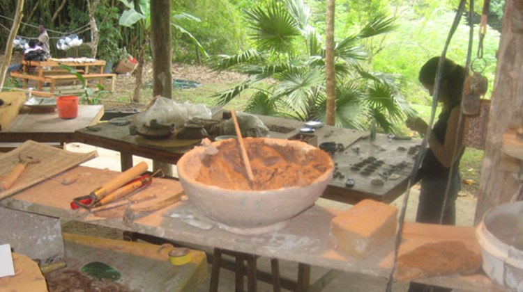 The pottery studio at Good Hope Estate in Trelawny, Jamaica