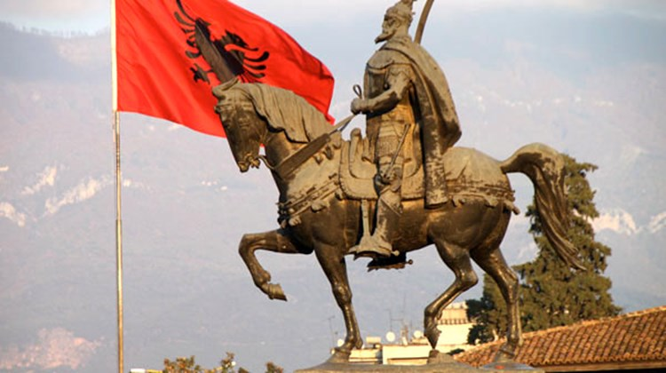 Statue of Albanian hero Skanderbeg in the capital of Tirana.