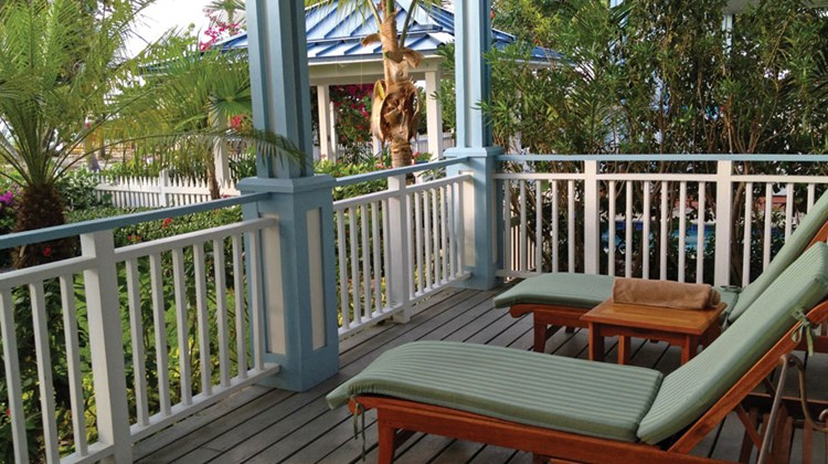 The porch facing the ocean from a Key West beachfront villa.