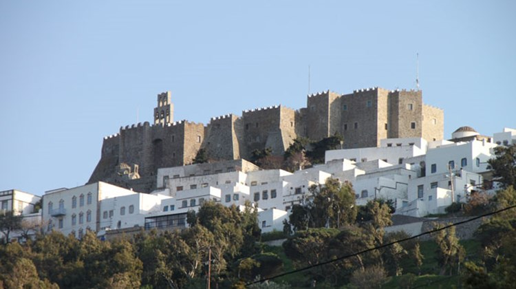 The fortified Patmos Monastery, which dates from 1088, surrounded by the houses of Chora, the capital of the Greek island of Patmos.