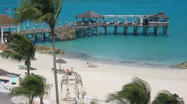 The pier at Sandals Royal Bahamian resort.