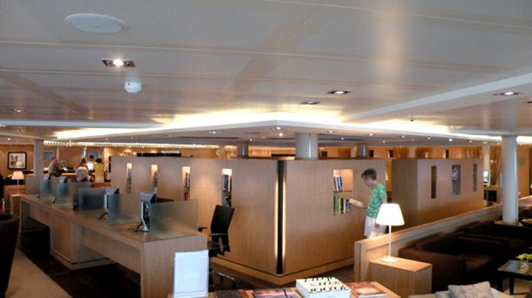 The Seabourn Square is one of the most popular areas on the ship. It combines the library, coffee shop, bursar's office, shore excursions desk and computer area.