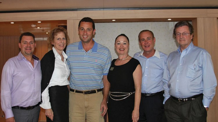 Seabourn welcomed agent partners to the Seabourn Sojourn late last year. Bryan Leibman, president of Frosch Travel, third from left, posed with members of the Seabourn sales and marketing team, from left: Darren Dolan, President and CEO Pamela Conover, Sheila Bielich, Doug Seagle and Jack Anderson.