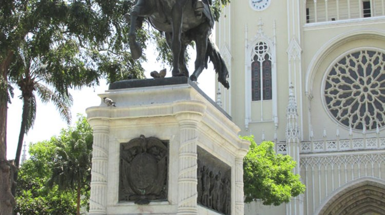Guayaquil's Seminary Park takes its official name from the Guayaquil Cathedral seen in the background, but it is also known as Bolivar Park for its statue of Latin American liberator Simon Bolivar.