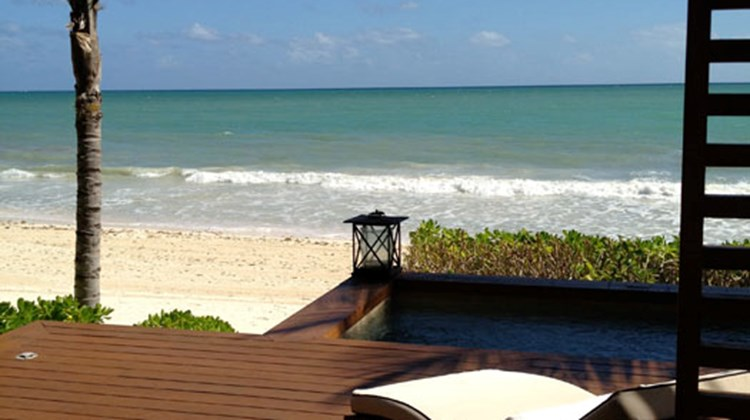 The view from the deck of an oceanfront Rosewood Mayakoba suite.