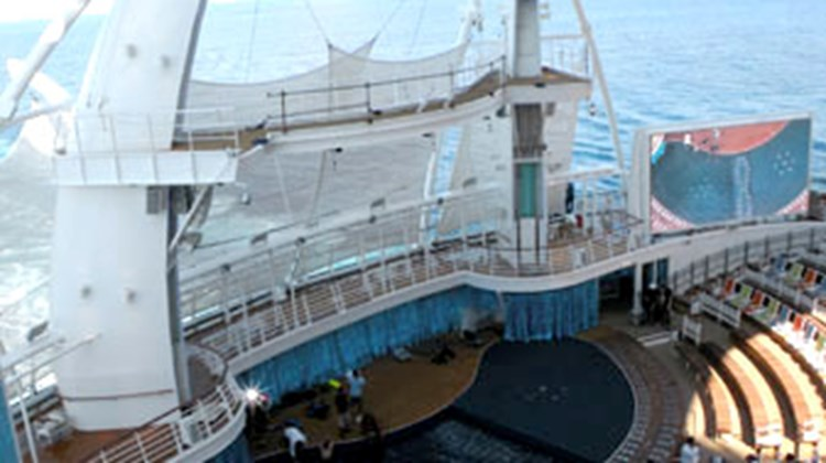 The AquaTheater on the Oasis of the Seas during the day.