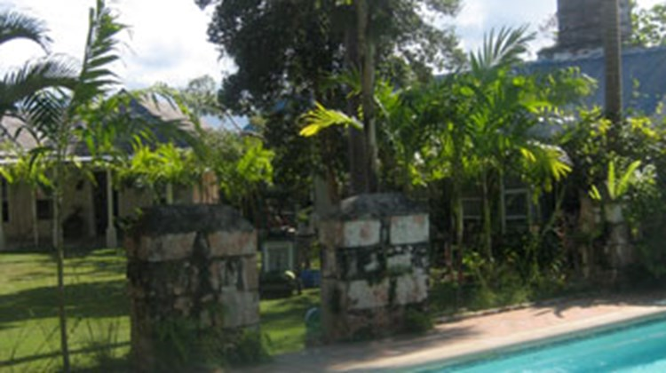 The pool area on the grounds of Good Hope Estate in Trelawny, Jamaica