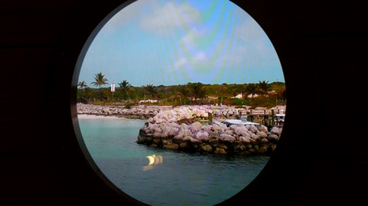 The virtual portholes in the inside staterooms display an actual feed from outside the ship. Here, passengers woke up to a view of Disney's private island, Castaway Cay.