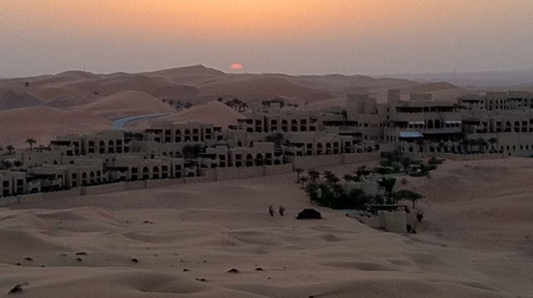 The exclusive, isolated Qasr Al Sarab Desert Resort by Anantara, located in the dunes of the Liwa Desert.