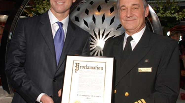 "San Francisco Mayor Gavin Newsom declared Jan. 27 as ""Cunard Queen Victoria Day"" as the vessel made its inaugural visit to the city. Pictured: Mayor Gavin Newsom and Captain Paul Wright."