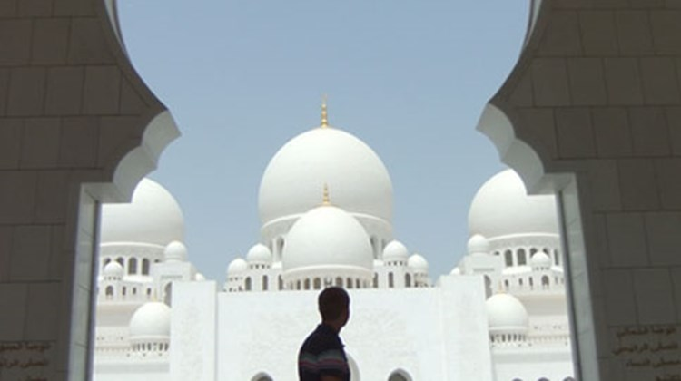 """Feeling like an out-of-place Westerner, Sheikh Zayed Mosque, Abu Dhabi"""
