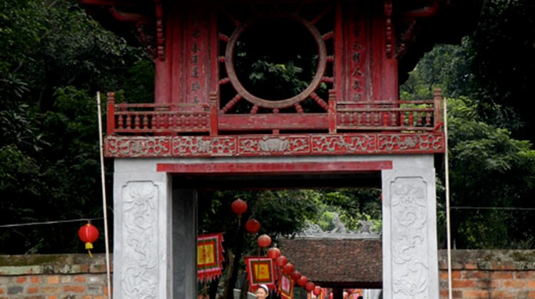 A pavilion at the Temple of Literature in Hanoi, Vietnam