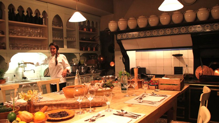 The basement kitchen at Avignon's La Mirande Hotel, where visitors may take cooking classes or even have dinner.