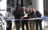 Vincent Vanderpool-Wallace, Bahamas minister of tourism and aviation; Sandals Chairman Butch Stewart; Sandals CEO Adam Stewart, and Frank Comito, vice president of the Bahamas Hotel Association cut the ribbon to open the Balmoral Tower.