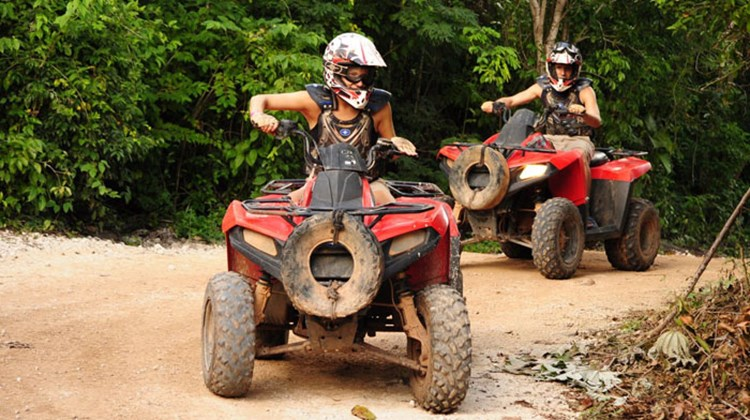 Jainchill, front, on the ATV tour at Selvatica.