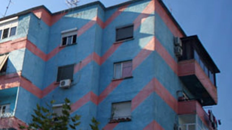 Many of Tirana's socialist-era buildings have been brightly painted, an initiative of Mayor Edi Rama.