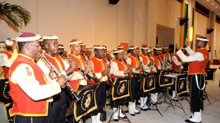 The official Jamaican Military Band performed at the opening event of Caribbean Marketplace in Montego Bay.