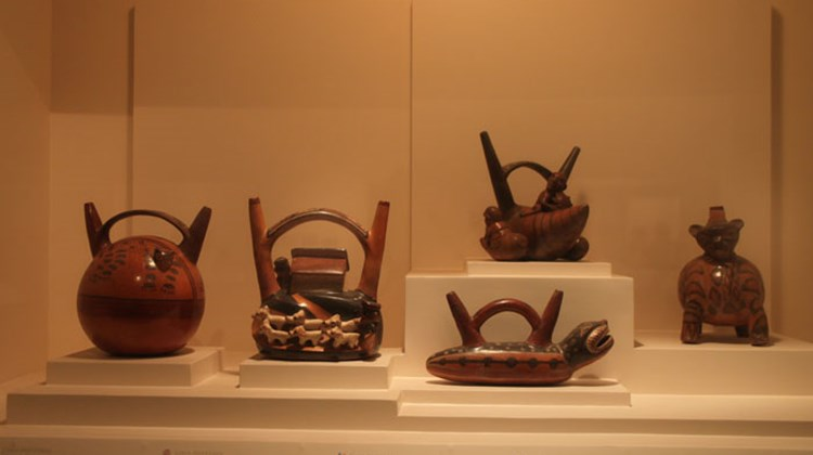 Choice pre-Inca clay pots on display in the Larco Museum.