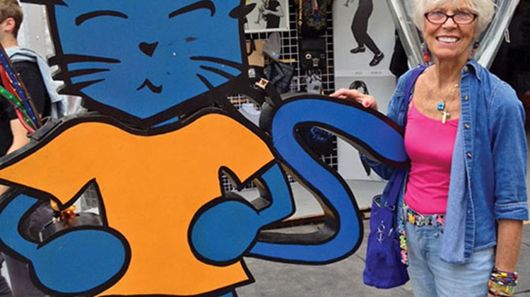 TW reporter Gay Nagle Myers hung out with le chat (the cat), the mascot of Montreal's 35th Jazz Festival.