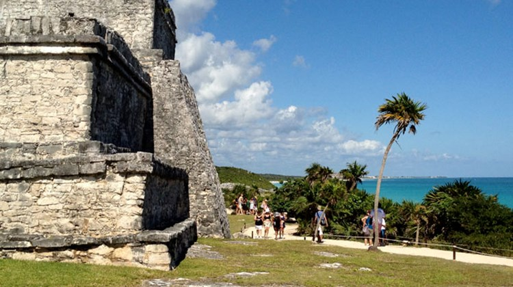 The ruins at Tulum are perched above the ocean. Photo by Johanna Jainchill