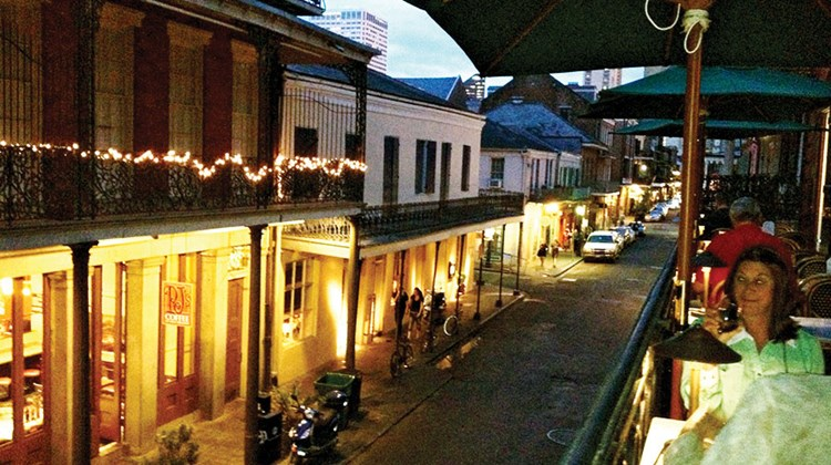 The French Quarter in New Orleans is lively at night with restaurants, bars and music.