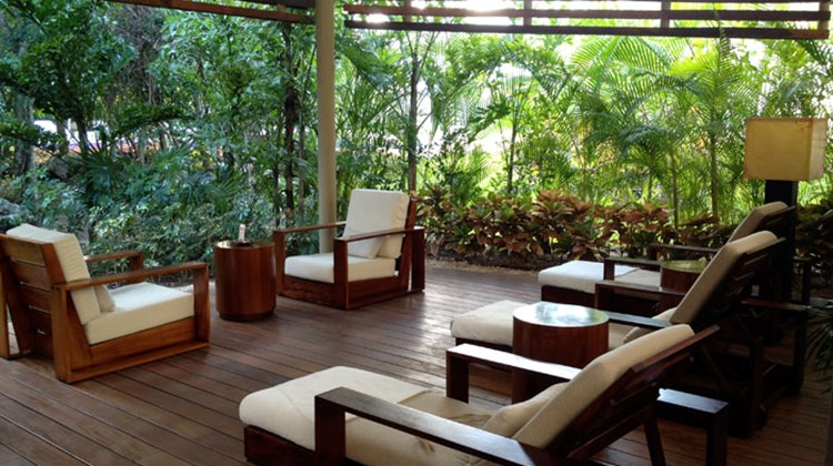 The outdoor lounge on the spa island, which has 12 stand-alone treatment cabanas are scattered among the trees.