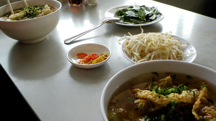Pho, a typical Vietnamese soup, at Pho 2000 in Ho Chi Minh