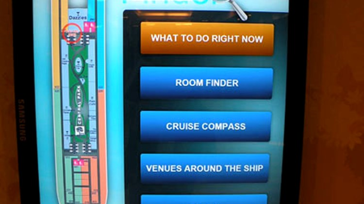 These popular interactive signs, designed to resemble huge iPods, tell people what's going on around the ship and give them directions to their room or any other venue.