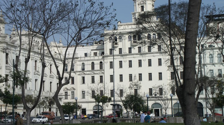Buildings on San Martin Square, a short distance from Lima's Plaza Mayor.