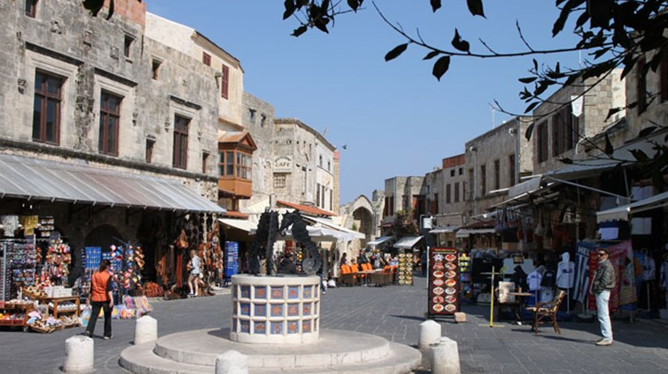 One of numerous shopping streets, now targeting tourists, in the old city of Rhodes.