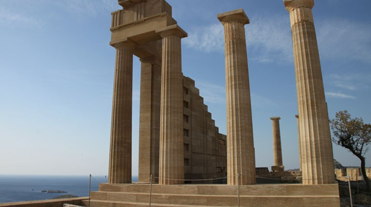 Temple of Athena Lindia, or what is left of it, at the top of the acropolis at Lindos on Rhodes.