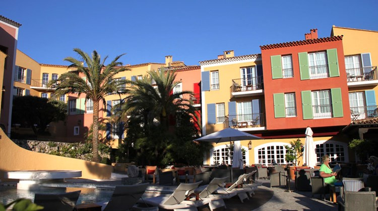 Exteriors of some of the ''houses'' that comprise the Hotel Byblos in Saint-Tropez.