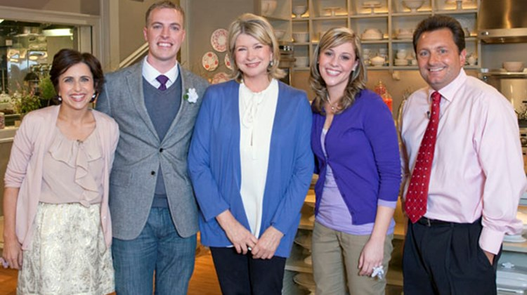 """Win a Wedding"" contest winners (L-R): Darcy Miller, Martha Stewart Weddings; contest winner Colin Van Dervort of Metairie, La.; Martha Stewart; contest winner, Elizabeth Wilks of Metairie; and Kevin Froemming, president of Unique Vacations. Photo credit: Nick D./'The Martha Stewart Show'"