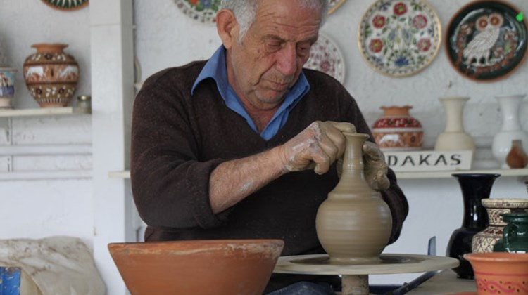 Pottery in the making on the island of Rhodes, which is noted for the hand-painted product.