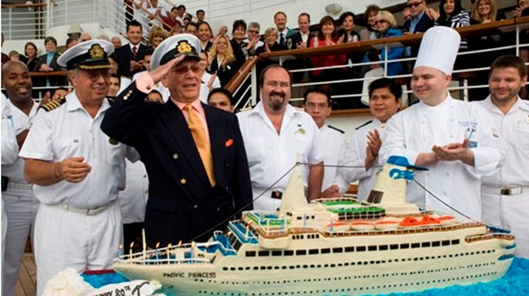 "Princess Cruises honored the line's long-time ambassador and ""Love Boat"" captain, Gavin MacLeod, with an 80th birthday party aboard the Golden Princess, featuring a replica of the original ""Love Boat,"" Pacific Princess."