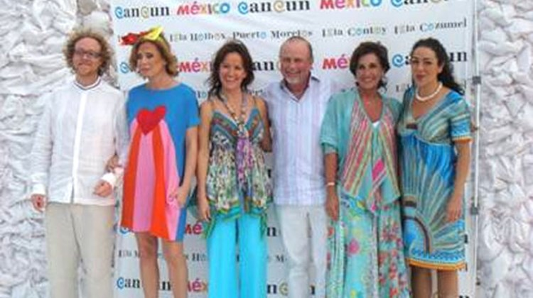 "Designers Ricardo Covalin, Agatha Ruiz de la Prada, Erika Flores and Cristina Pineda with Director of the Cancun CVB, Jesus Almaguer, and founder/owner of Grupo Ultrafemme, Elena Villarreal, at La Amada Hotel, in Playa Mujeres, Cancun, for the launch of the Cancun CVBs ""Cancun & the Treasures of the Caribbean"" campaign."