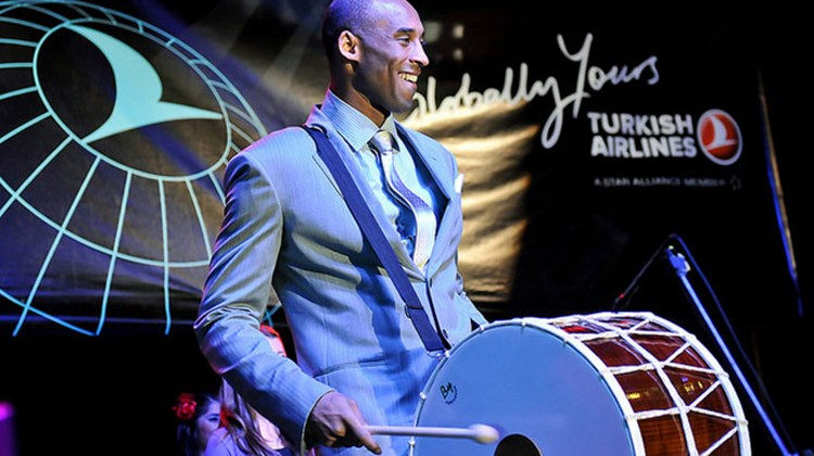 Turkish Airlines' Global Brand Ambassador and NBA star Kobe Bryant plays the drums in a traditional Turkish ceremony at the Turkish Airlines Los Angeles Celebration Launch Event.