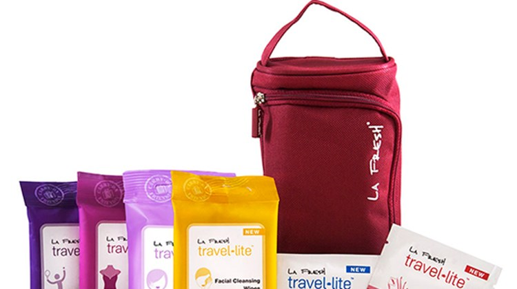 These handy Travel Lite Carry On Friendlies kits, one for women and one for men, contain La Fresh wipes appropriate for minor travel emergencies and inconveniences. The women's Friendlies (pictured) consist of a pouch of facial wipes, nail polish remover pads, lens-/screen-cleaning wipes, makeup remover wipes, hygiene wipes and antiperspirant wipes. The men's collection has antiperspirant wipes, mosquito-repellant wipes, lens-/screen-cleaning wipes, hygiene wipes, antibacterial wipes and shoe-shine wipes. Both sets of wipes come in a portable travel bag.