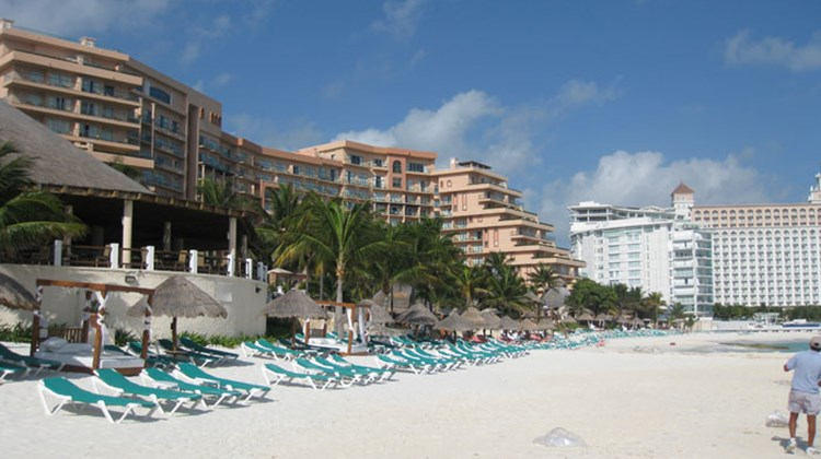 The beach at the Fiesta Americana Grand Coral Beach Cancun.