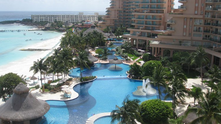 The pool area at the Fiesta Americana Grand Coral Beach Cancun.