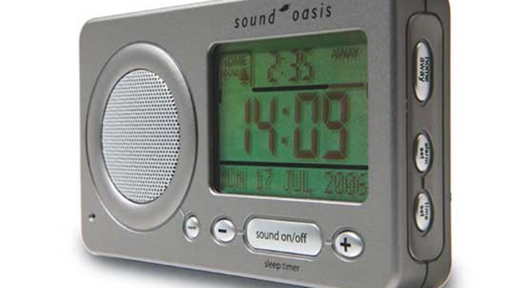"What's New, What's Hot is Travel Weekly's look at useful and fun travel gadgets, edited by Joe Rosen. First up, the Sound Oasis Travel Sleep Therapy System. Just the thing for road warriors, this compact clock features 18 soothing nature sounds designed to enable restless travelers to drift off to sleep. Wake-up is courtesy of four alarm types that include a jet-lag reduction sound ""that helps the body synch to new time zones."""