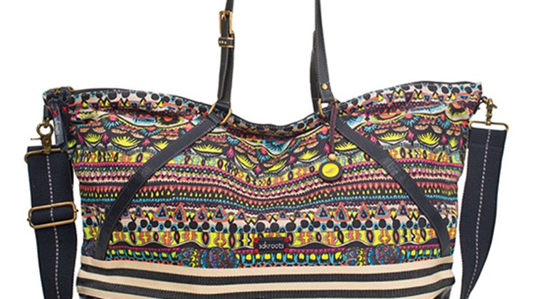 This sturdy bag is an eye-catcher, employing for its colorful look the works of artists engaged by Sakroots to create prints that are ''laid back, cheerful and fun.'' This duffel, measuring 24 by 7 by 15 inches, comes equipped with an adjustable and removable cross-body strap; a zippered back pocket; and three interior pockets, one of them zippered. The top is a soft canvas, while the bottom is a coated canvass. Weighing only one pound, it is versatile enough to be used as an overnighter or even a capacious gym bag.