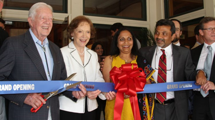 At the opening of the Best Western Plus Windsor Hotel (L-R): President Jimmy Carter and Mrs. Rosalynn Carter; Ila and Sharad Patel, hotel owners; Mark Williams, VP of North American development for Best Western International.