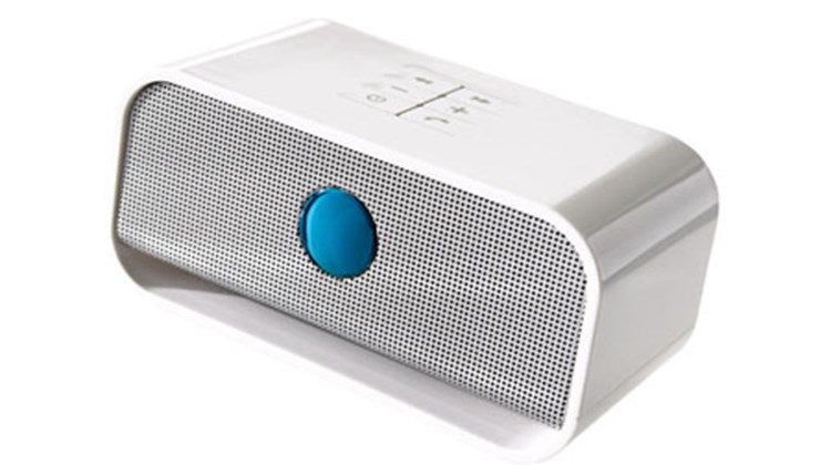 Brookstone carries this 10-ouncer, which offers excellent sound quality for the price. Like almost all of the other speakers, the Big Blue provides Bluetooth functionality up to a distance of 30 or so feet and comes with a USB cord, wall adapter and rechargeable battery (in this case, about six hours of playing time on a charge).
