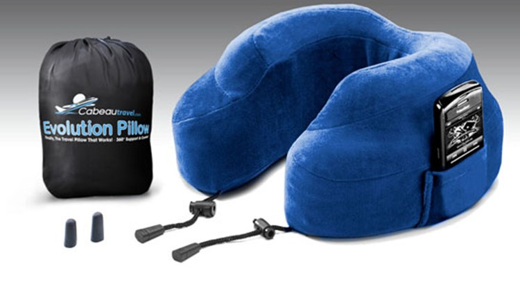 Also this month, the Evolution Pillow. It would be asking a lot of this clever product to make you comfortable in an economy-class seat, but it does increase the chances that you could sleep your way through the discomfort of a long flight. More substantial and thereby more supportive than other travel pillows, the Evolution offers a responsive memory foam and raised side supports to keep your head from falling to the side, adjustable sliding toggles to hold the pillow in place and a pouch for hands-free access to your cellphone.